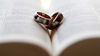 Two wedding rings lying on an open Bible symbolizing faithfulness and not adultery